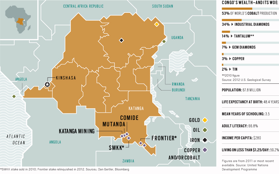 This map from Bloomberg shows the  DRC's natural resource wealth alongside some of its human development statistics.